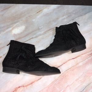 Free People Decades Distressed Black Ankle Boots